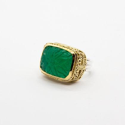 Dina bague argent onyx vert | Dina silver ring
