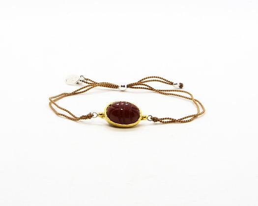 bracelet cordon scarabee pierre cornaline- bijoux créateur canyon - boho chic - the boho society