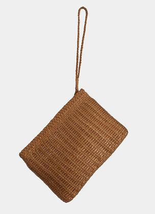 sac dragon lizard - sac cuir tresse - sac pochette marron - sac fait main - the boho society
