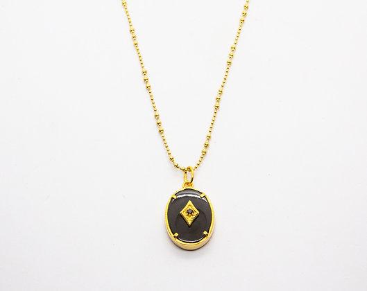 collier createur plaqué or et medaillon onyx et zircon- leticia ponti - bijou de createur - the boho society