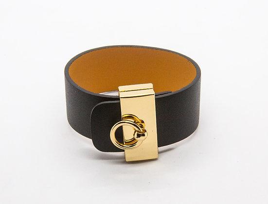 Bracelet manchette cuir plaqué or - bijou createur - the boho society
