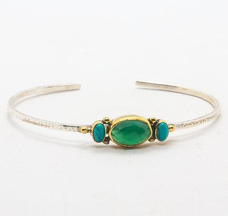 Bahia | Bracelet onyx vert et turquoise en argent 925