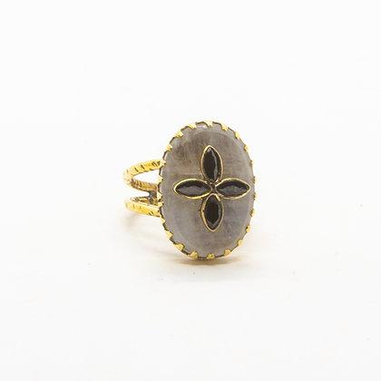 bague pierre de lune et spinelle - bague boheme - bijoux createur - bijoux boheme - the boho society
