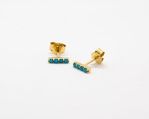 boucles d'oreilles or 14 carats et turquoise - bijoux createur - bijoux boheme - boho chic - the boho society