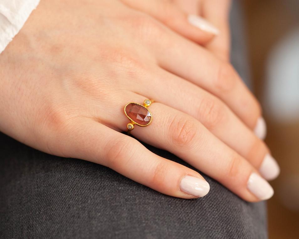 bague tourmaline diamant - bijou createu
