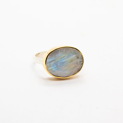 Gaia bague Or et Pierre de lune | Gaia Gold 9k & Rainbow moonstone