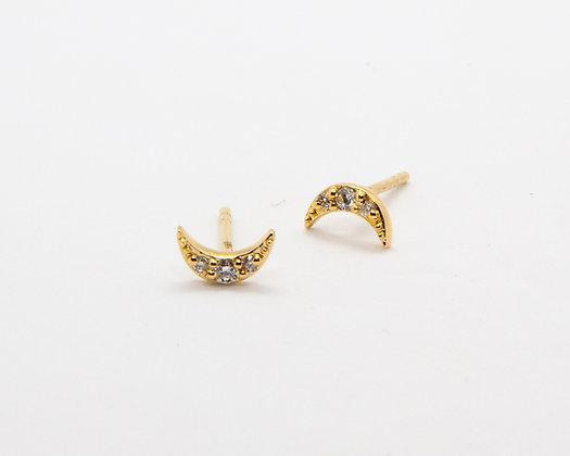 boucles d'oreilles lune or 14 carats et diamants - bijoux createur - bijoux boheme - boho chic - the boho society