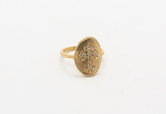 Bague fantaisie plaque or - bague boho - bague de createur-the boho society