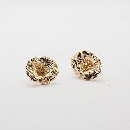 Camélia | Boucles d'oreilles fleur en plaqué or 3 microns