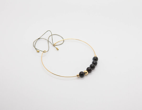 bracelet jonc fin en gold filled 14k avec perles fines - jonc fin plaqué or et perles fines - the boho society