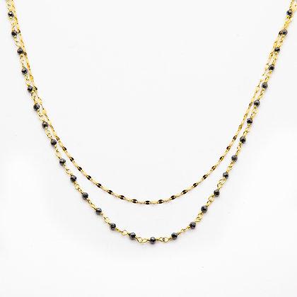 Costa | Collier de créateur double rang plaqué or et hématites