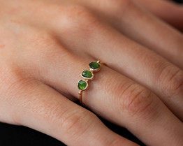 bague en or tourmaline verte - hello vin