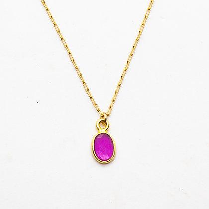 Demi | Collier de créateur plaqué or et rubis rose