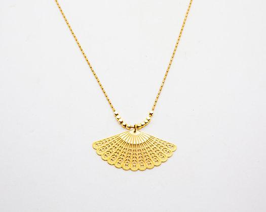 collier sautoir avec éventail - collier plaqué or - bijoux createur - bijoux boheme - the boho society