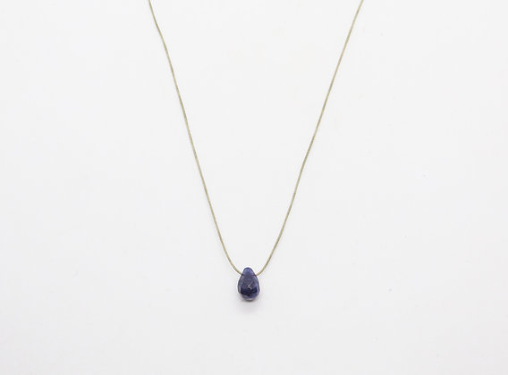 Collier cordon avec goutte bleu foncé - collier goutte pierre fine - collier goutte pas cher - the boho society