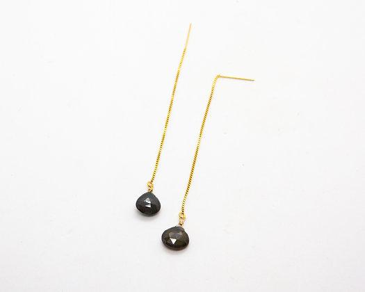 boucles d oreilles pendantes et tourmaline verte - bijoux createur - the boho society
