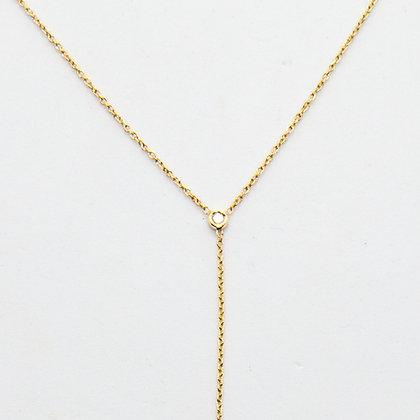 Cora | Collier lariat en or 14 carats et 2 diamants
