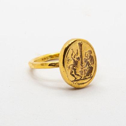 Antic   Bague romane en argent 925 doré à l'or fin 18K