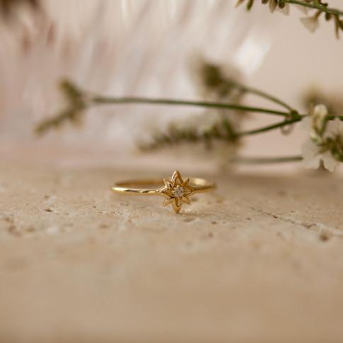 bague en or 14 carats et diamants - bijo