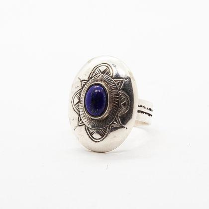 Touareg | Bague ethnique argent et lapis lazuli