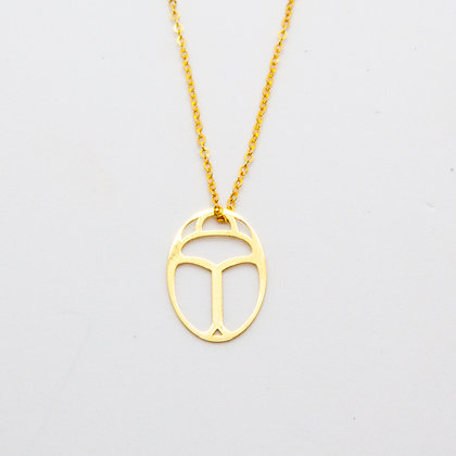 Collier Scarabee Or 14 carats | Egyptian beetle necklace Gold 14K