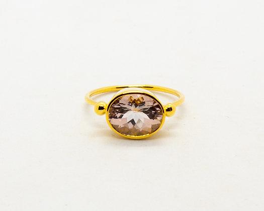 bague en or 9 carats tourmaline blanche - bijoux createur - bijoux boheme - the boho society