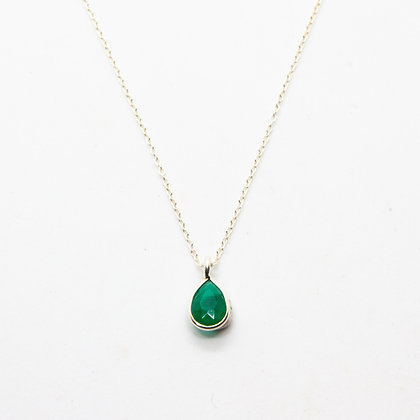 Demi collier argent Onyx vert   Demi necklace green onyx