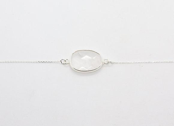 bracelet tendance argent et quartz blanc bracelet boheme chic - bijou de createur -  the boho society