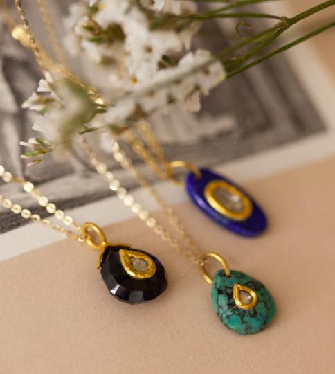 collier en or  diamant pierres semi prec