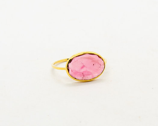 bague en or 14 carats tourmaline rose - bijoux createur - bijoux boheme - the boho society