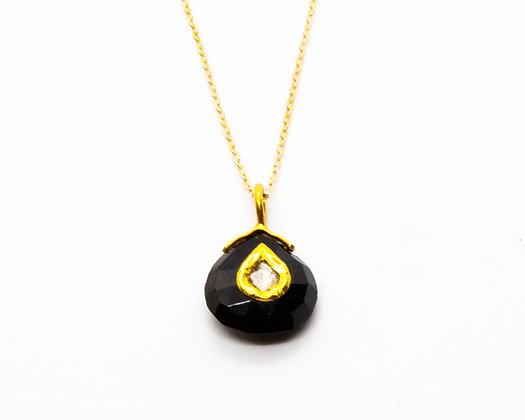 Collier en or 9 carats avec pierre onyx noir et diamant- bijoux createur - bijoux boho-bijoux boheme - the boho society