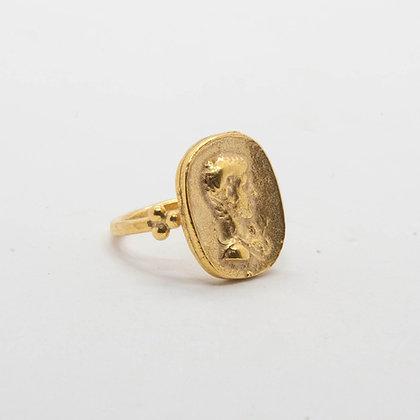 Antic | Bague romane en argent 925 doré à l'or fin 18K