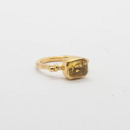 Byzantine | Bague citrine en argent 925 doré à l'or fin 18K