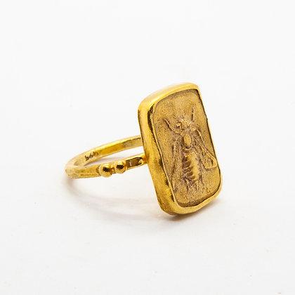 Antic | Bague abeille en argent 925 doré à l'or fin 18K