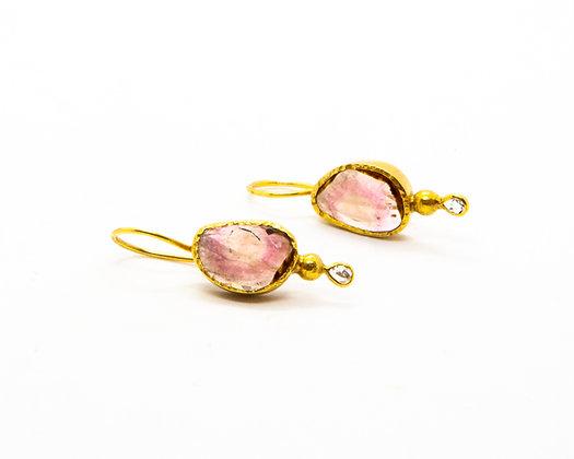 Boucles d oreilles tourmaline rose et diamant- bijoux createur - bijoux boho-bijoux boheme - the boho society