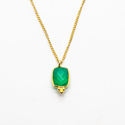 Demi collier onyx vert | Demi green onyx necklace