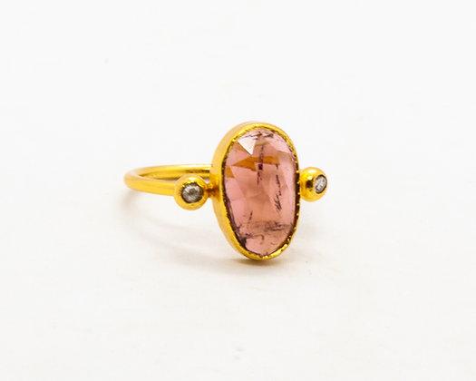 Bague tourmaline rose et diamant- bijoux createur - bijoux boho-bijoux boheme - the boho society