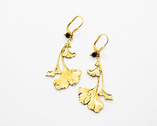 boucles d oreilles pendantes ginkgo lotta djossou - bijoux createur - bijoux boheme - boho chic - the boho society
