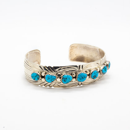 Navajo | Bracelet turquoise amerindien en argent 925