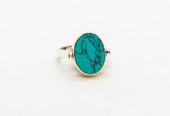 Nina | Bague reversible argent turquoise et lapis lazuli