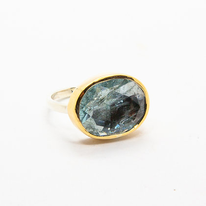 Gaia bague Or et Aigue marine | Gaia Gold 9k & Moss Aquamarine