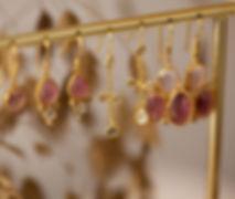 boucles d oreilles tourmaline diamant -