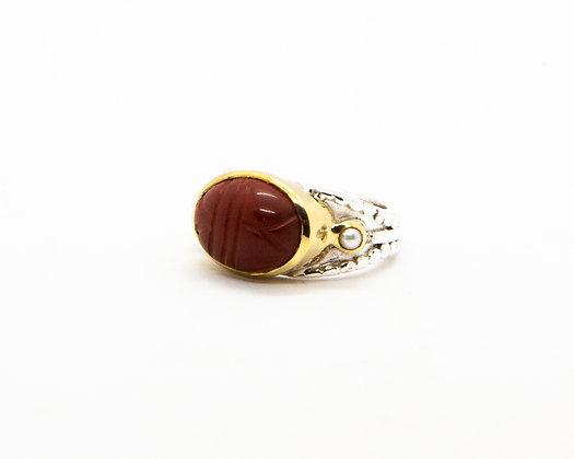 Bague femme argent scarabee pierre rouge cornaline - bijoux créateur canyon - boho chic - the boho society