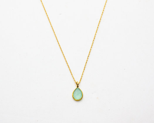 collier ras de cou plaque or pendentif calcédoine - bijoux créateur - the boho society