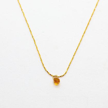 Jully | Collier de créateur en plaqué or saphir ambre