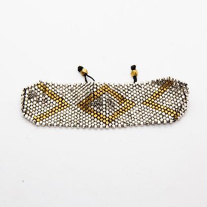 Java | Bracelet de créateur bicolore tissé de perles de laiton argentées