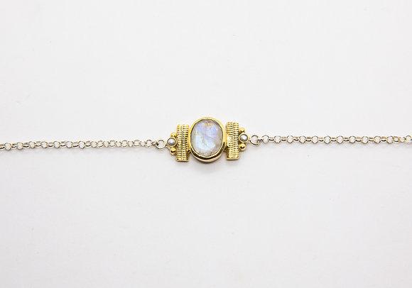 Florida | Bracelet pierre de lune en argent et laiton