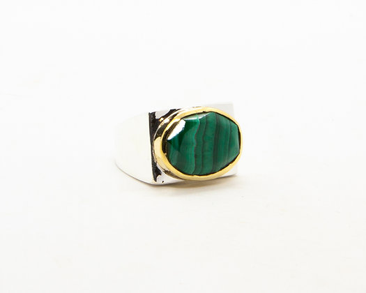 Bague femme argent et pierre verte malachite - bijoux créateur canyon - boho chic - the boho society