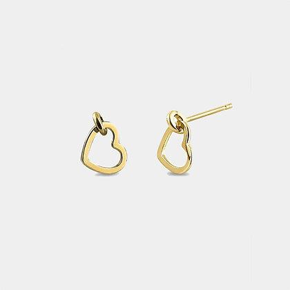 Coeur - Boucles d'oreilles Or 14 carats | Heart 14k gold studs