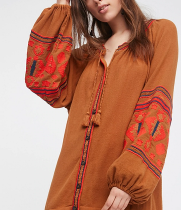 The boho society - robe kaftan brodée cannelle - boheme chic